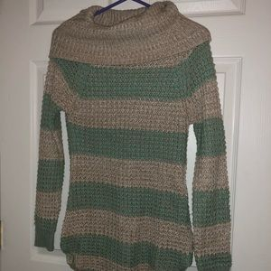 Green and tan striped sweater
